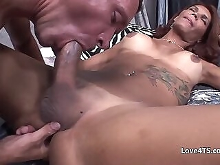 Guy gets double penetrated by 2 big dicked shemales shemale