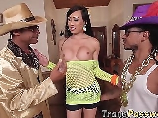 Sensational Asian TS shared by two horse hung studs anal big dick tranny