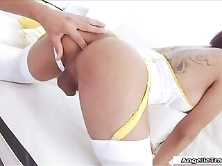 Asian ladyboy Micky barebacking a guy tranny shemale handjob