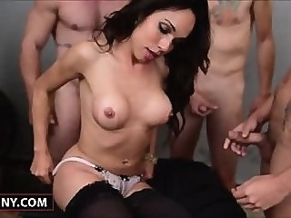 Hot Shemale Sheila Gets Gangbanged tranny anal sex oral