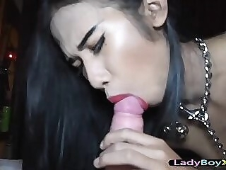 Flat chested asian ladyboy gets barebacked real hard shemale